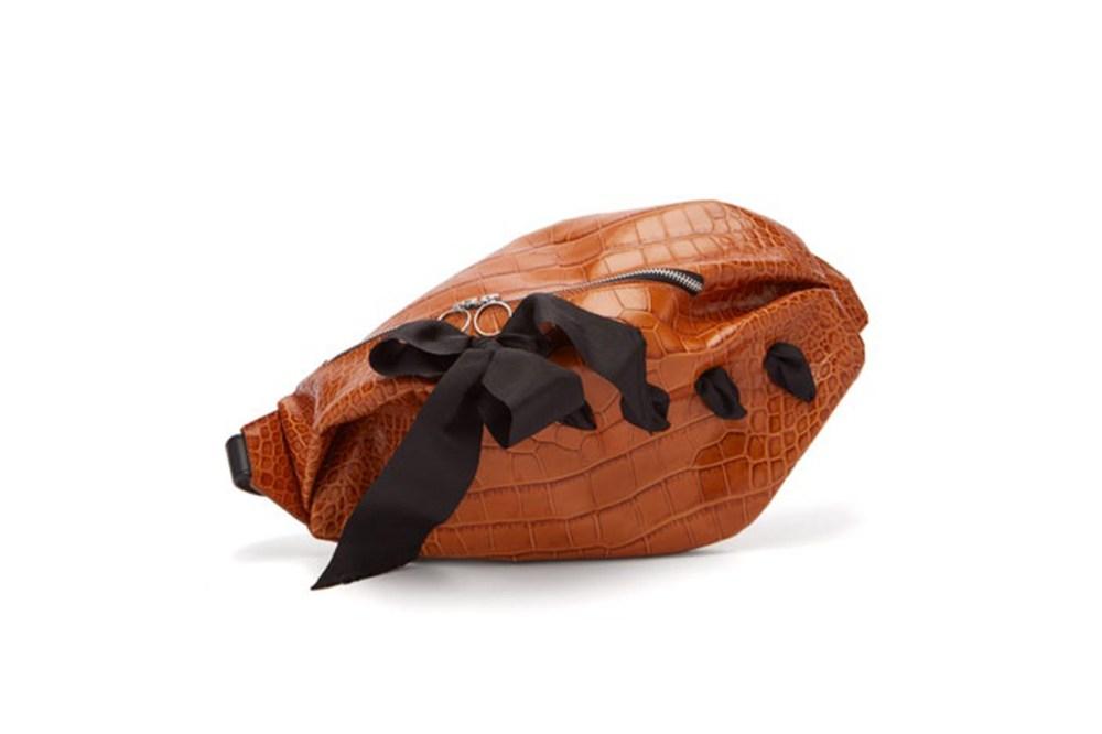 Bow-Detailed Crocodile-Effect Leather Belt Bag