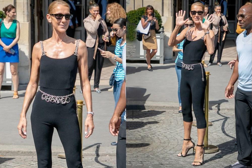 celine dion chanel paris haute couture bodysuit bike shorts