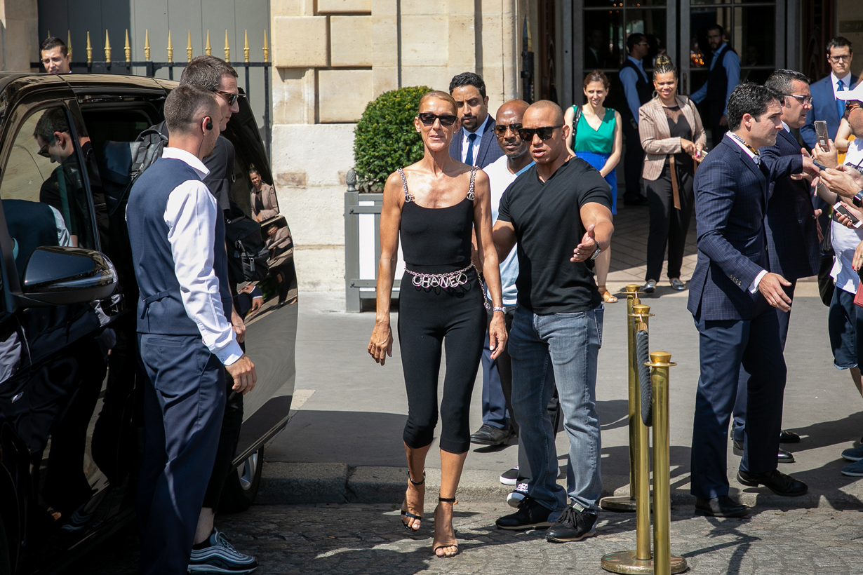 celine dion chanel paris haute couture bodysuit bike shorts