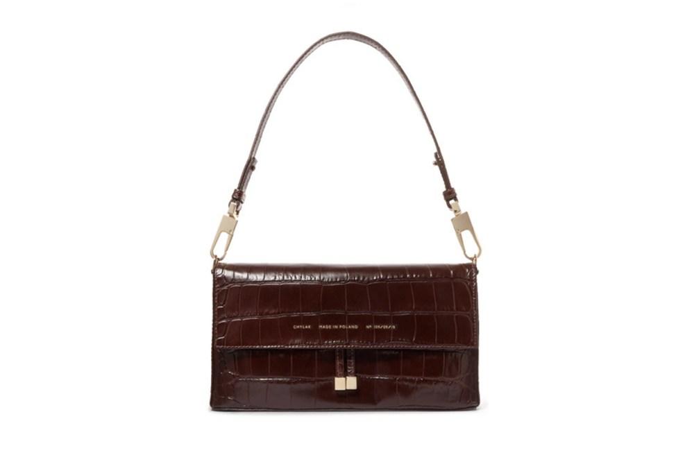 Flap Croc-Effect Leather Shoulder Bag