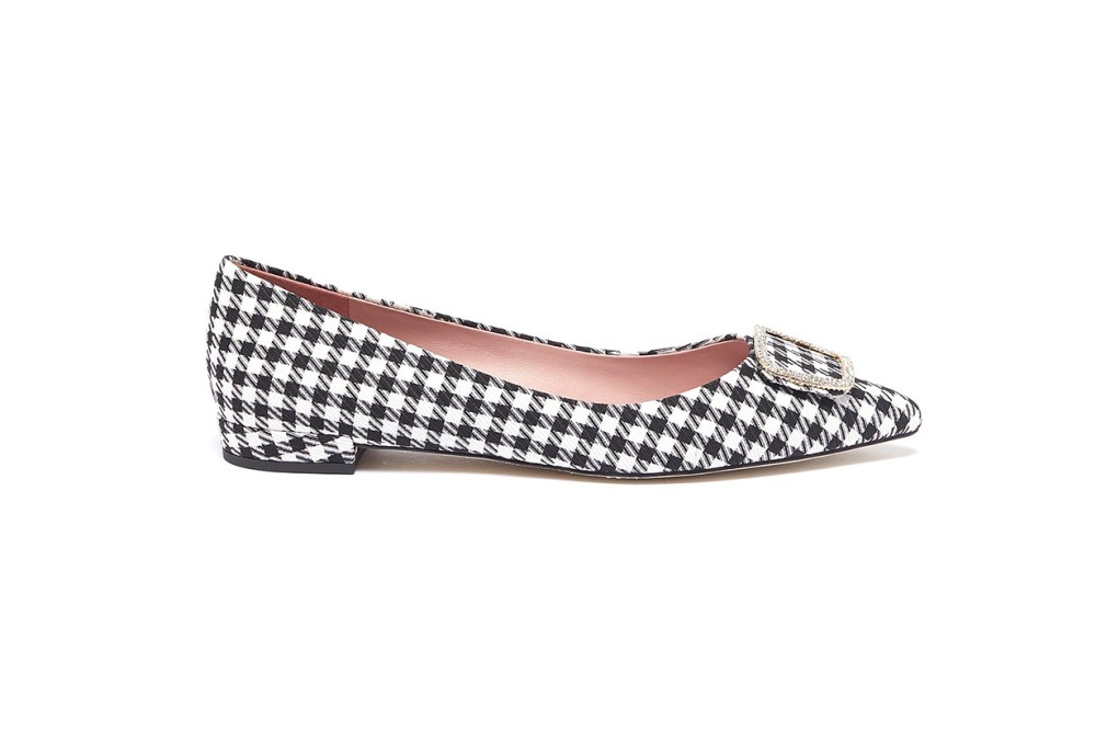 Janice Strass Brooch Houndstooth Skimmer Flats