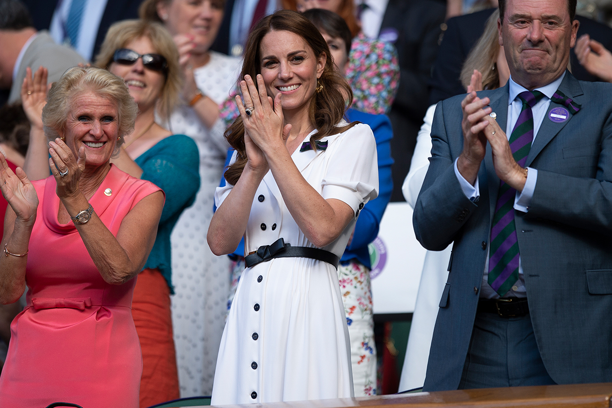 Kate Middleton Looks Radiant in a Belted White Dress During Surprise Wimbledon Appearance