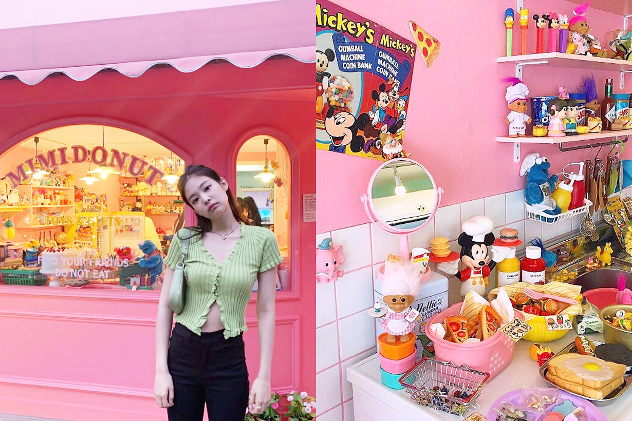 BLACKPINK Jennie Mimidonut Vintage toy store Hongdae Seoul travel spots shopping Toy Story Disney Mickey Minnie Snoopy Barbie Sesame street Cartoon