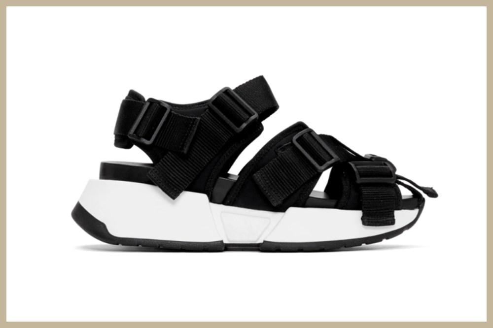 MM6 Maison Margiela Black Safety Strap Platform Sandals