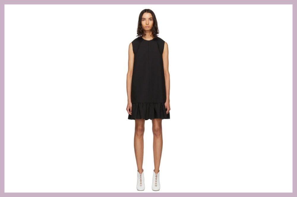 MSGM Black Double Layer Cady Crepe Dress