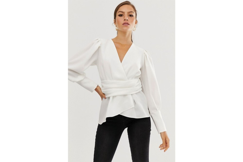 River Island Long Sleeve Wrap Blouse in White