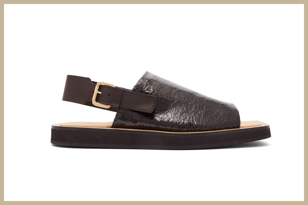 Square-Toe Crinkled-Leather Sandals
