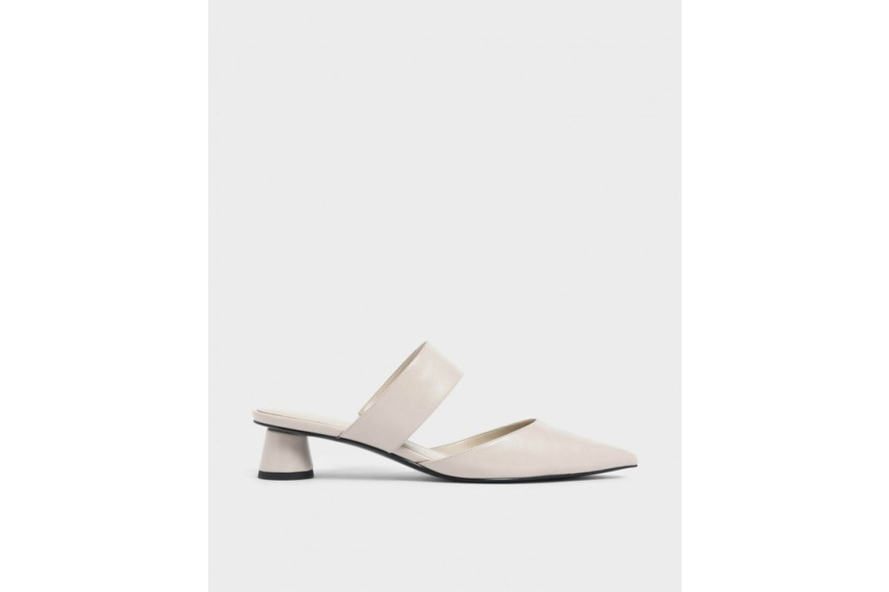 Thick Strap Cylindrical Heel Mules