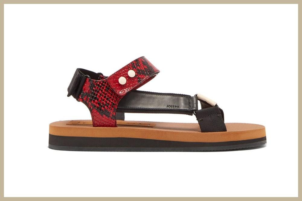 Tri-Colour Python-Effect Leather Sandals