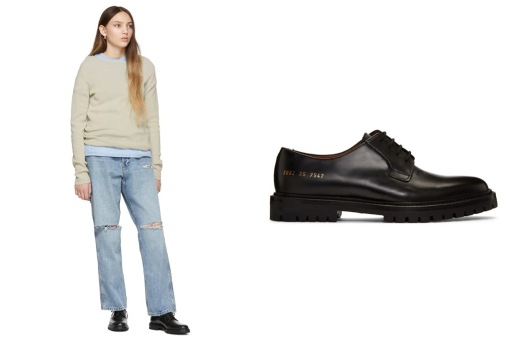 Woman by Common Projects Black Leather Derbys