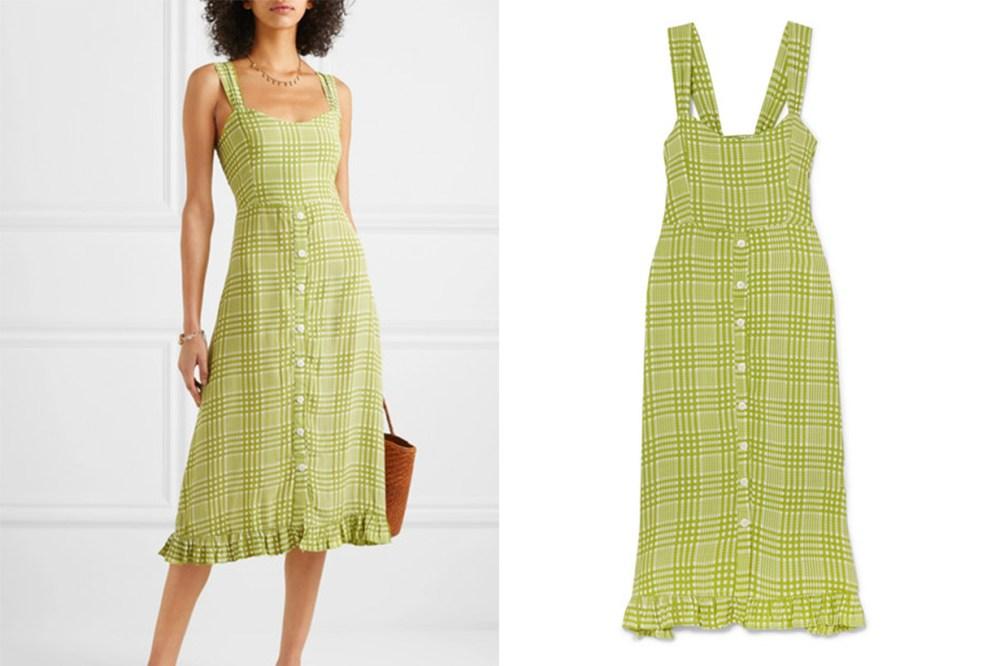 Yasmin Shirred Checked Crepe Midi Dress