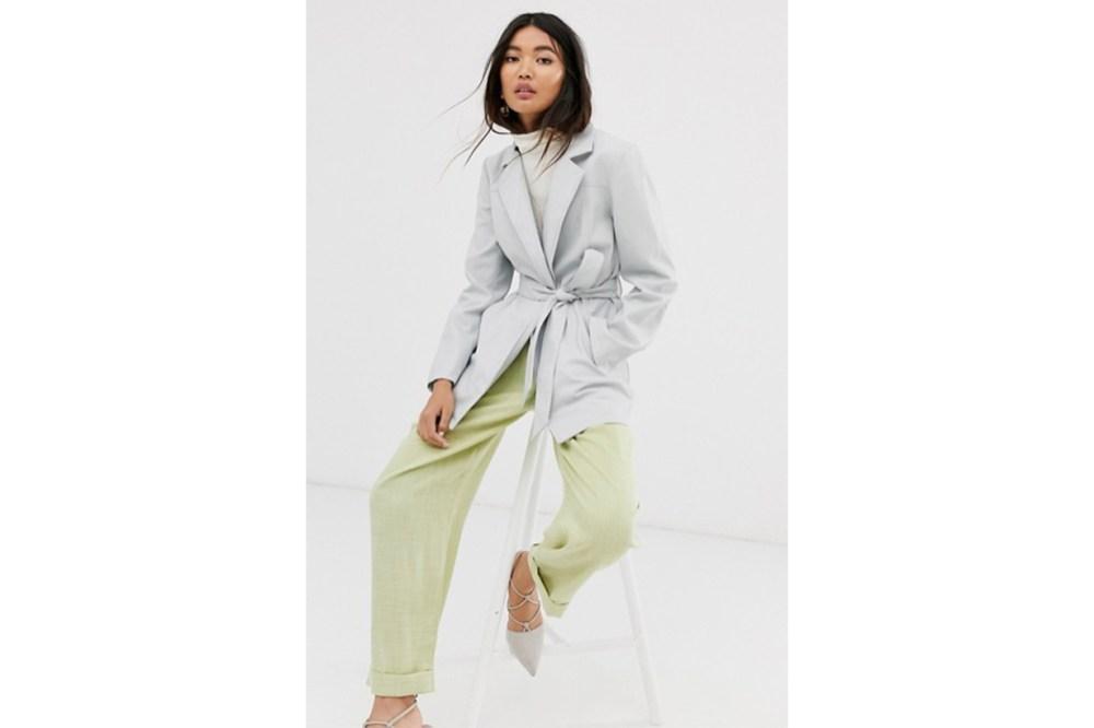 ASOS DESIGN Leather Look Belted Jacket in Grey