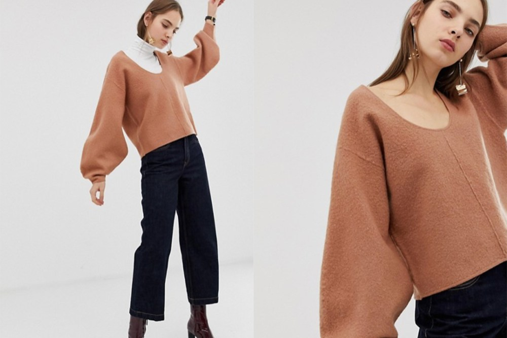 Boiled Wool Banana Sleeve Knit Jumper