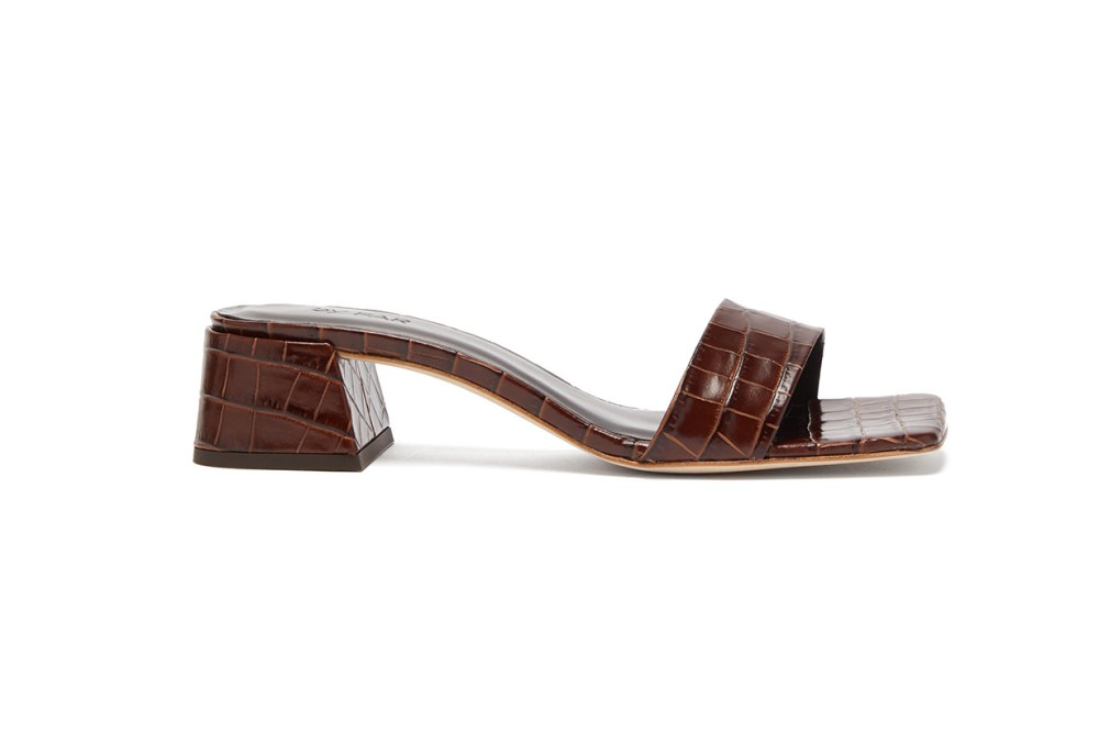 Courtney Square-Toe Crocodile-Effect Leather Mules