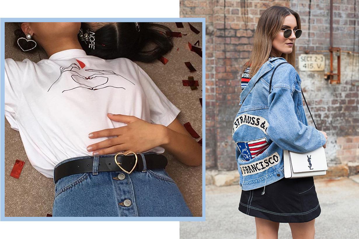 Denim skirt street style mix and match