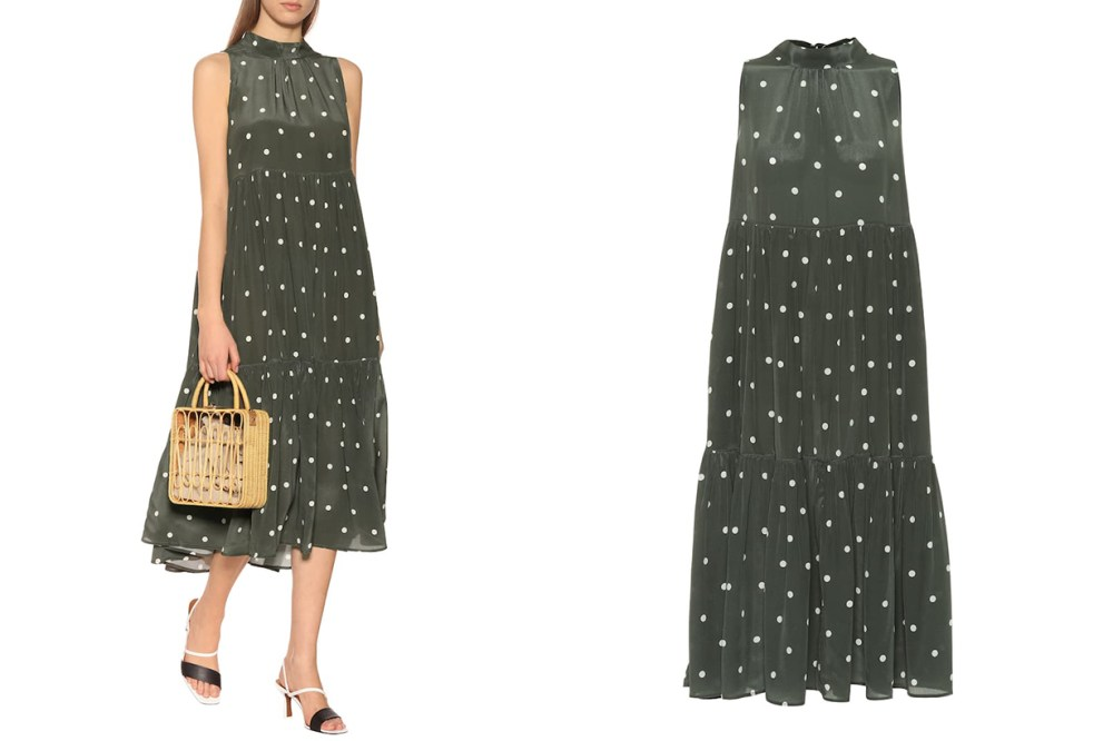 Dotted Silk Crêpe Midi Dress