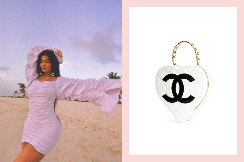 Kylie jenner Chanel quilted heart-shaped bag on Instagram