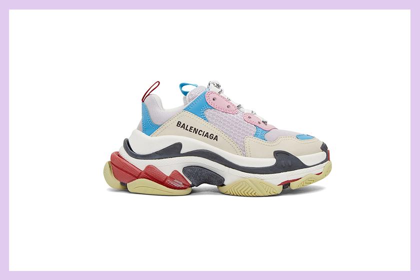 balenciaga triple s pastel pink blue white chunky sneaker