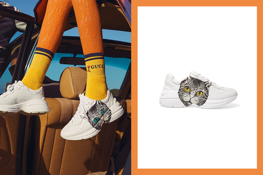 gucci cat print rhyton leather sneakers