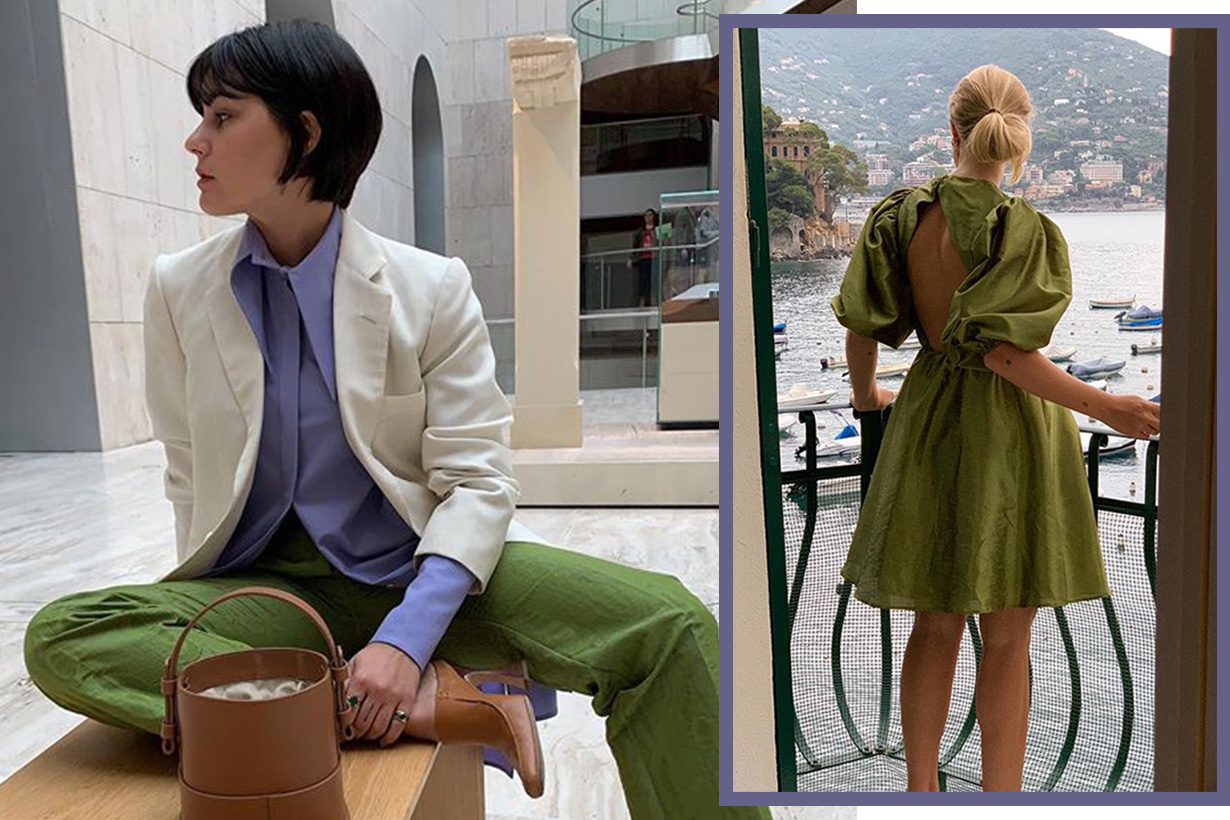 green and lilac color combinations street style 2019