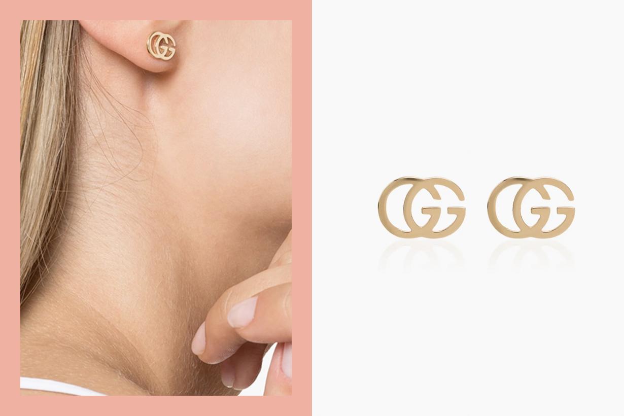 gucci earring logo 18k gold new acc luxury