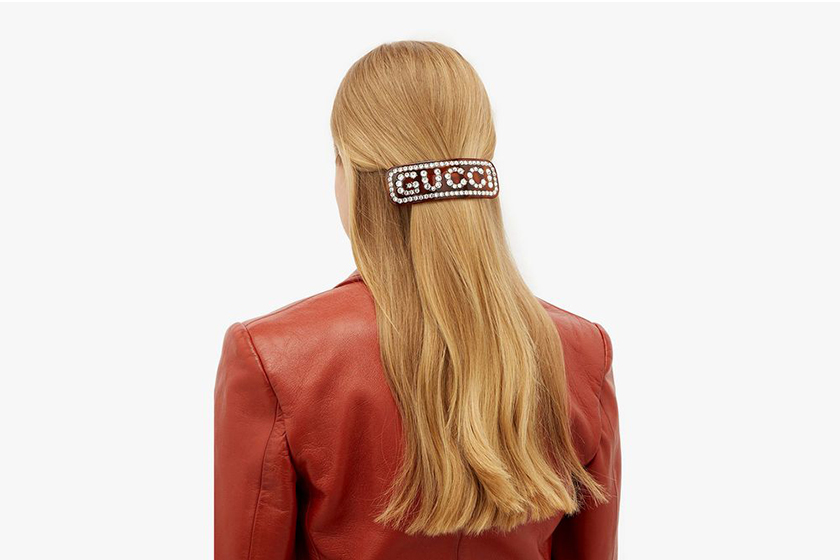 gucci logo hair slides crystals clips hairstyle accessories