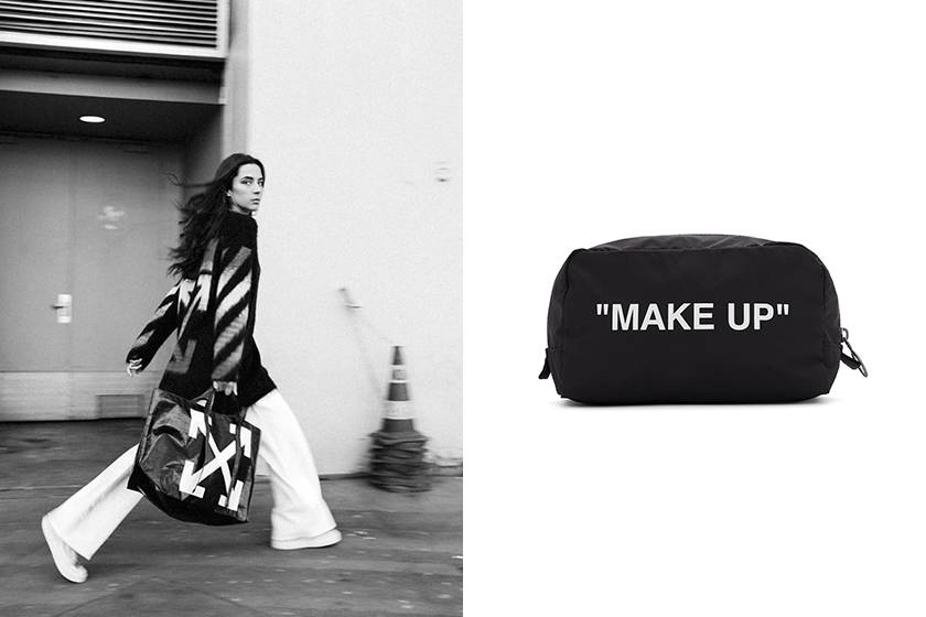 off white makeup pouch black travel bag