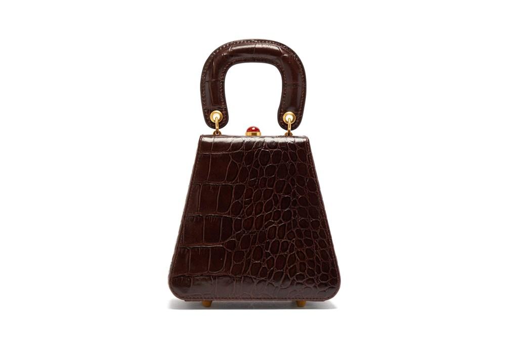 Kenny Top-Handle Crocodile-Embossed Leather Bag