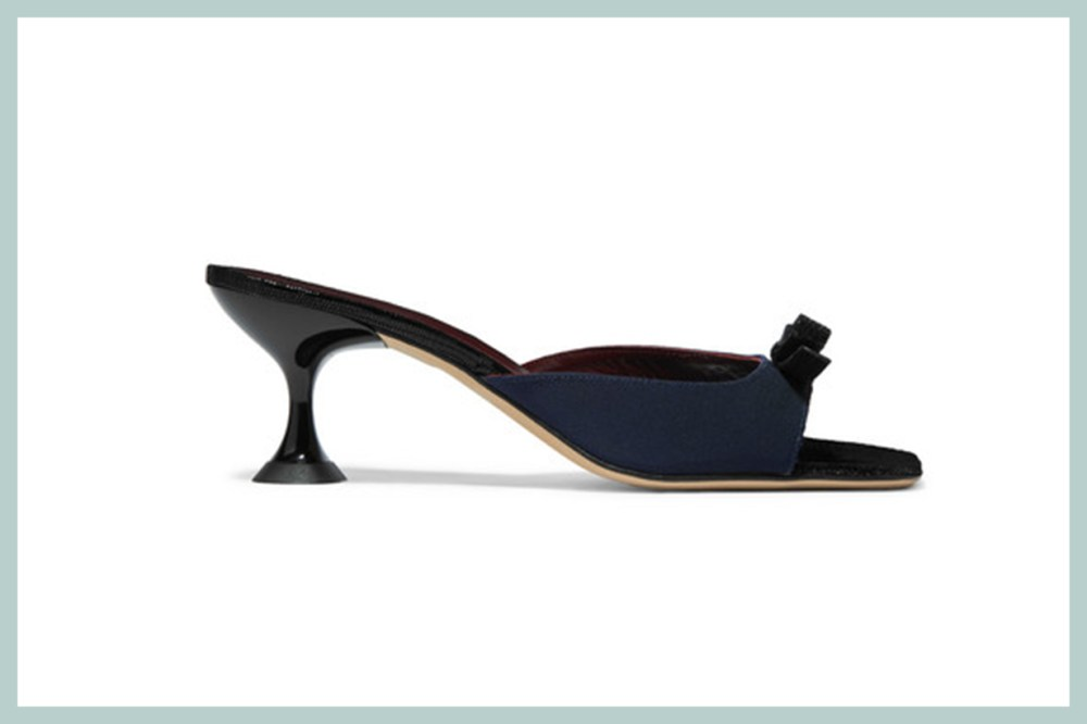 Leo Bow-Embellished Faille and Lizard-Effect Leather Mules
