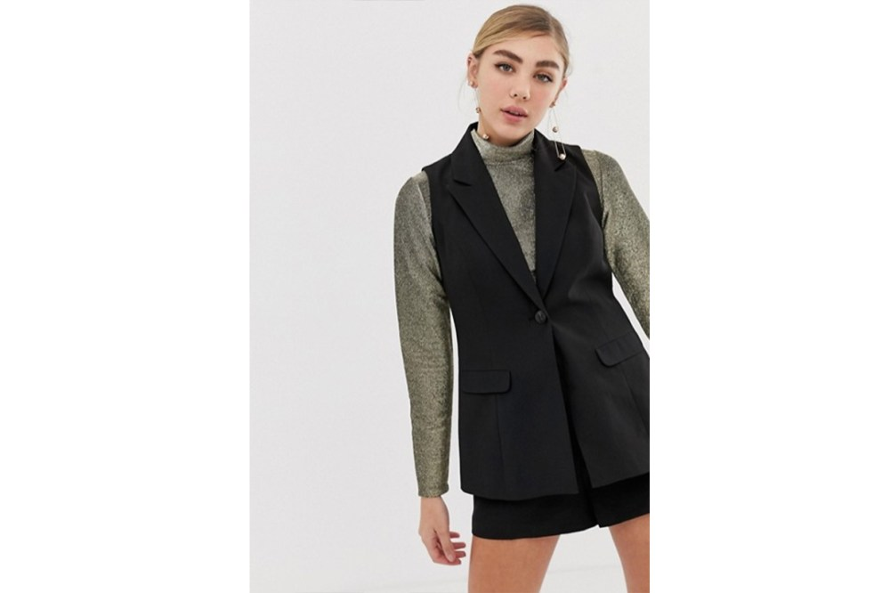 Miss Selfridge Tailored Saistcoat in Black