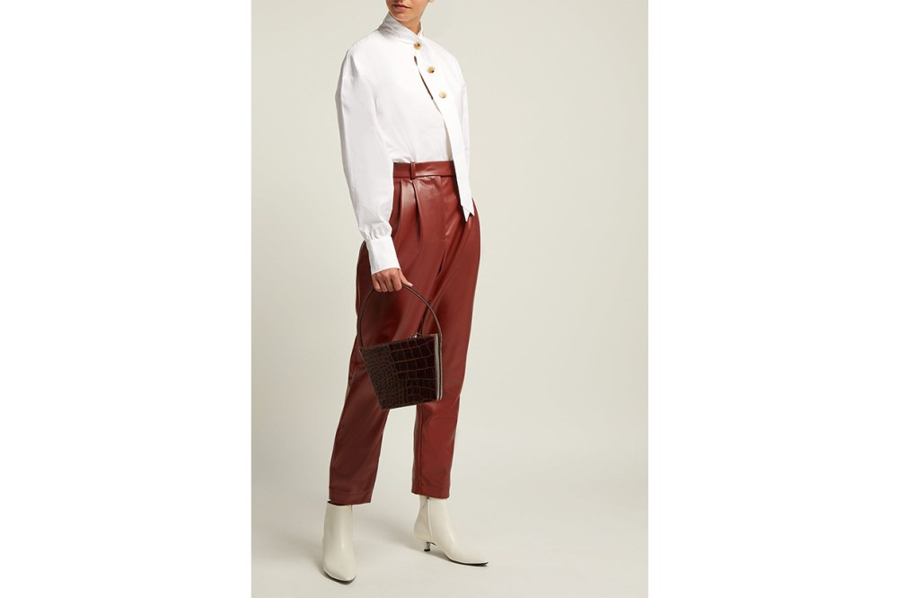 Pleat-Front Faux-Leather Trousers