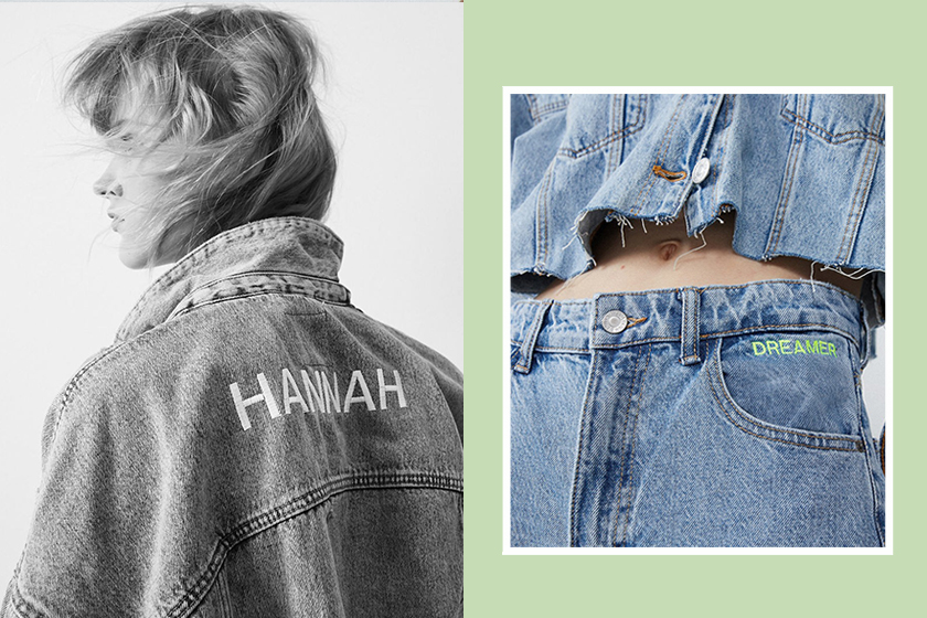 zara sustainable cotton customizable edited capsule collection recycled denim hoodie