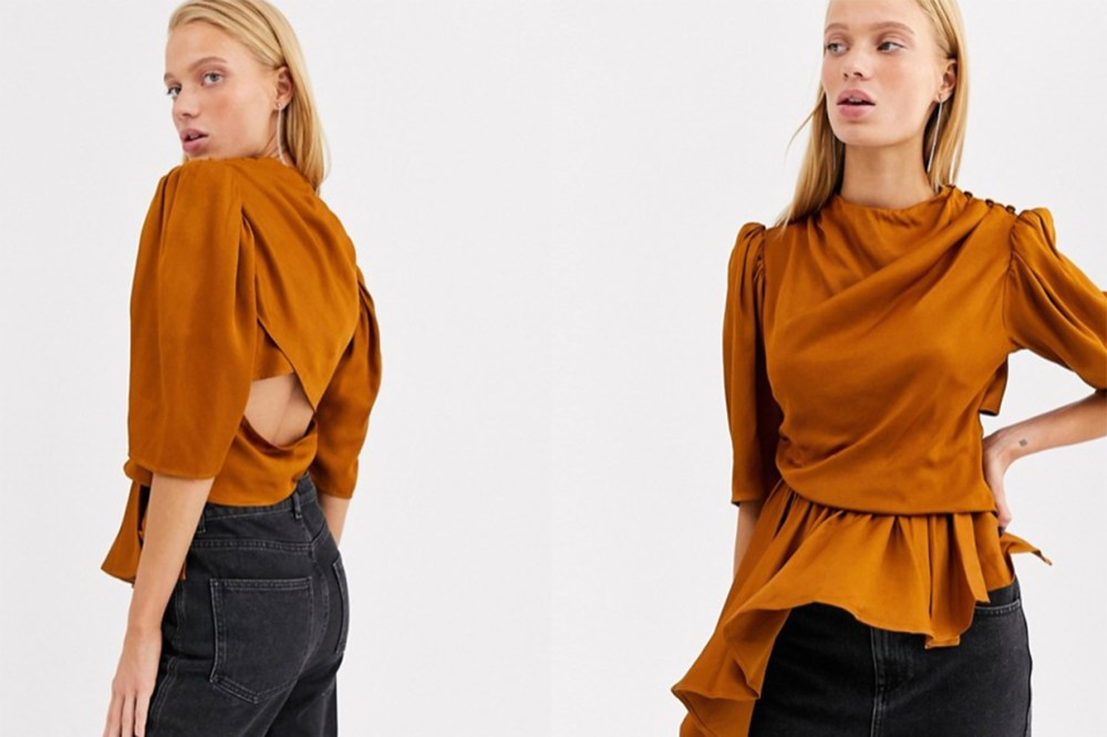 Ruched Sleeve High Neck Top