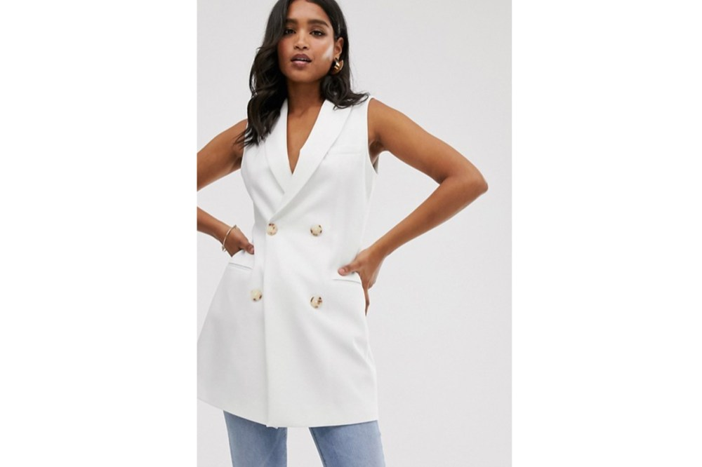 Stradivarius Double Breasted Waistcoat Blazer Dress in White