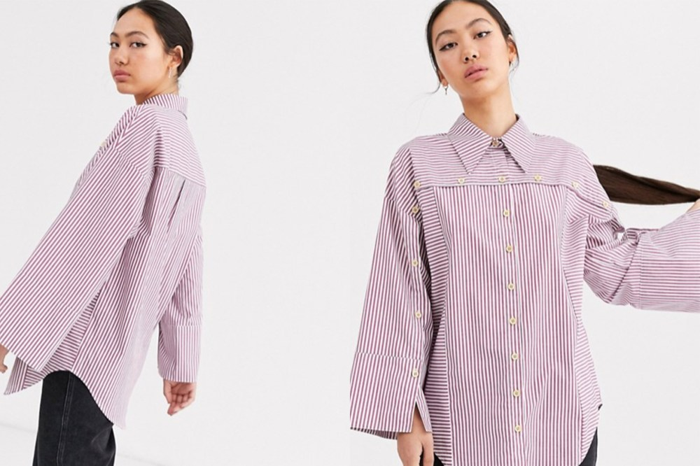 Stripe Wooden Button Detail Shirt
