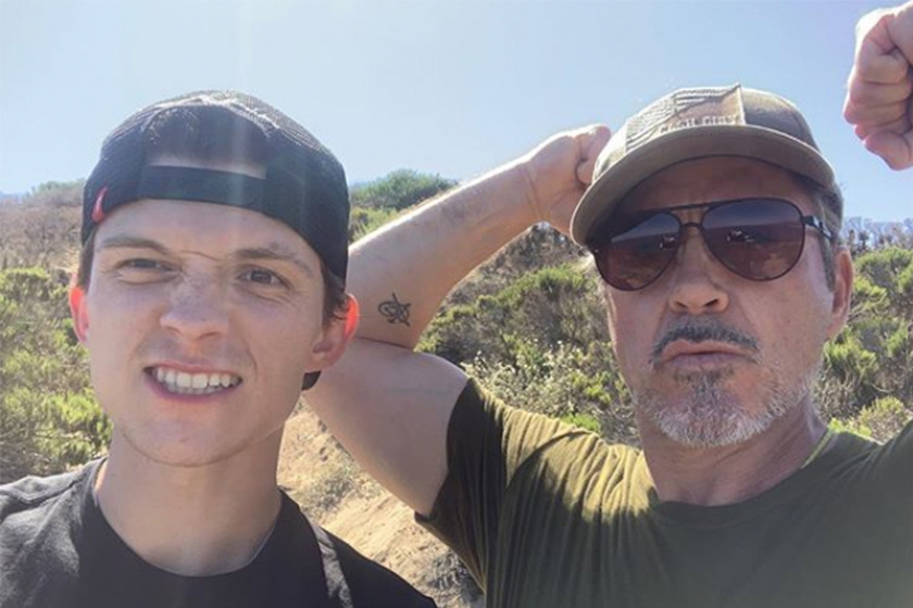 Tom Holland and Robert Downey Jr selfie with shoes update