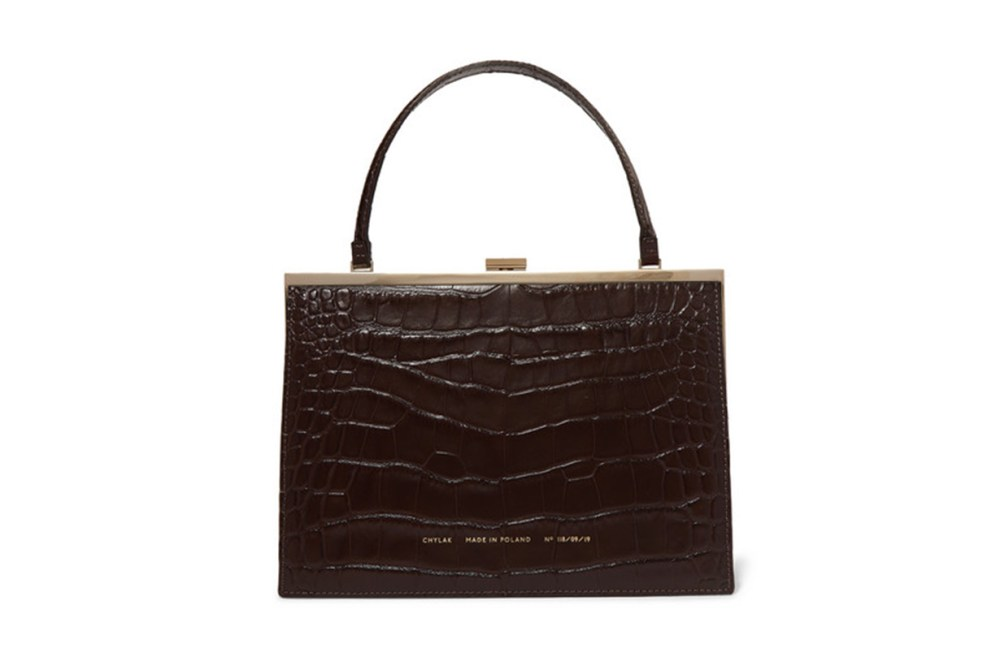 Vintage Clasp Croc-Effect Leather Tote