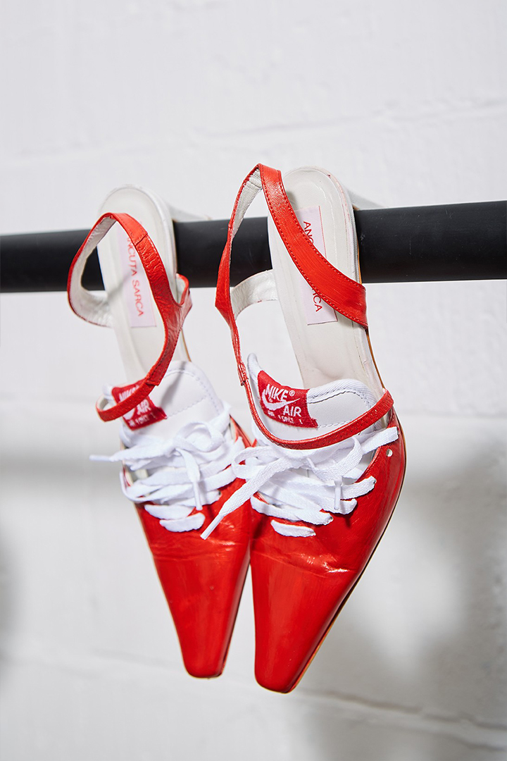 Ancuta Sarca Upcycled Kitten Heels in Red
