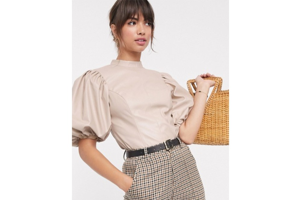 ASOS DESIGN Top with Puff Sleeve in PU
