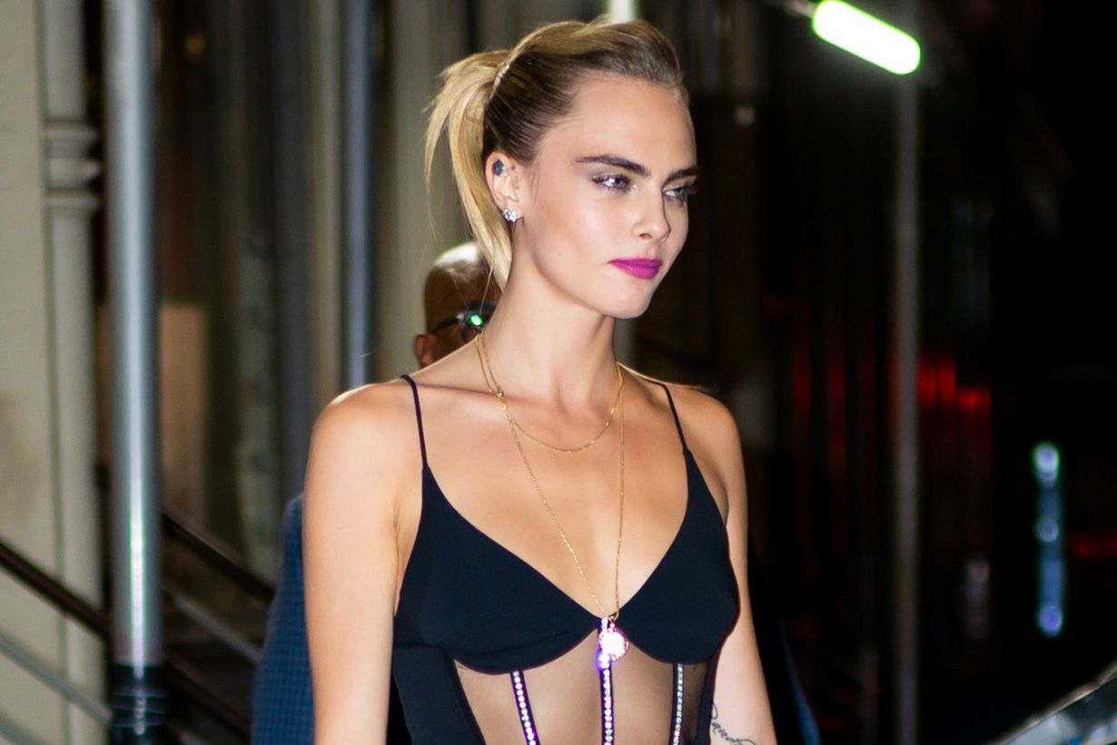 Cara Delevingne David Koma black dress new york city