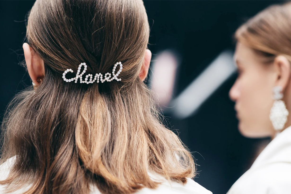 Chanel FW19 Fall Winter 2019 Hair Accessory Metal Glass Pearls Strass Silk Camellias Hair Ribbon hair clip Sam McKnight hairstyles trend