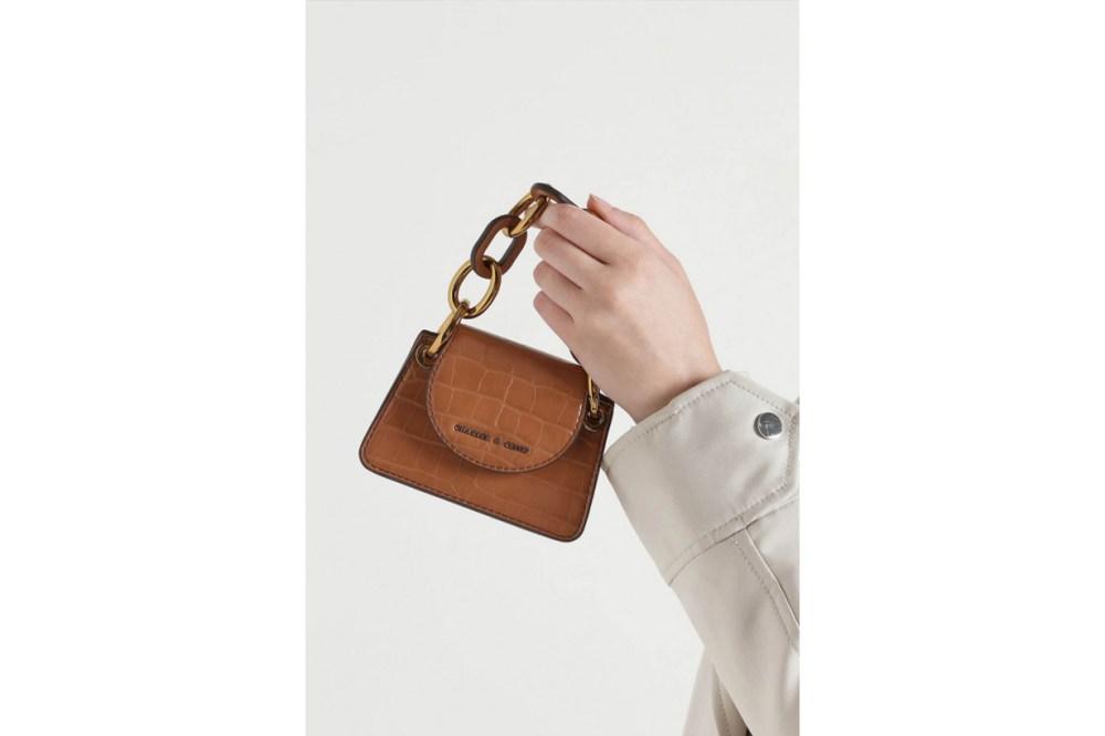 Croc-Effect Chunky Chain Handle Mini Bag