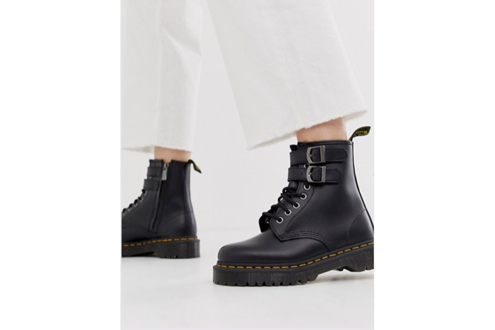 Dr Martens Chunky Buckle Boots in Black Leather