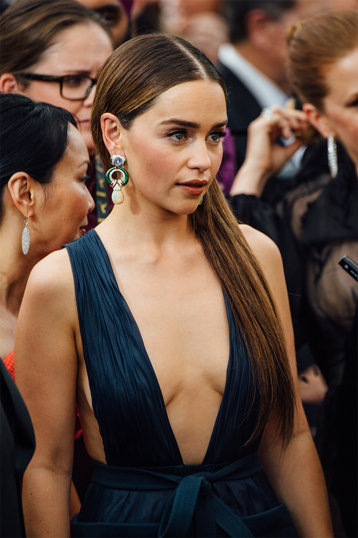 Emilia Clarke Is Wearing Long Brown Hair for the Emmys 2019