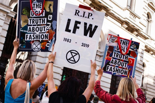 london fashion week lfw Extinction Rebellion protest funeral