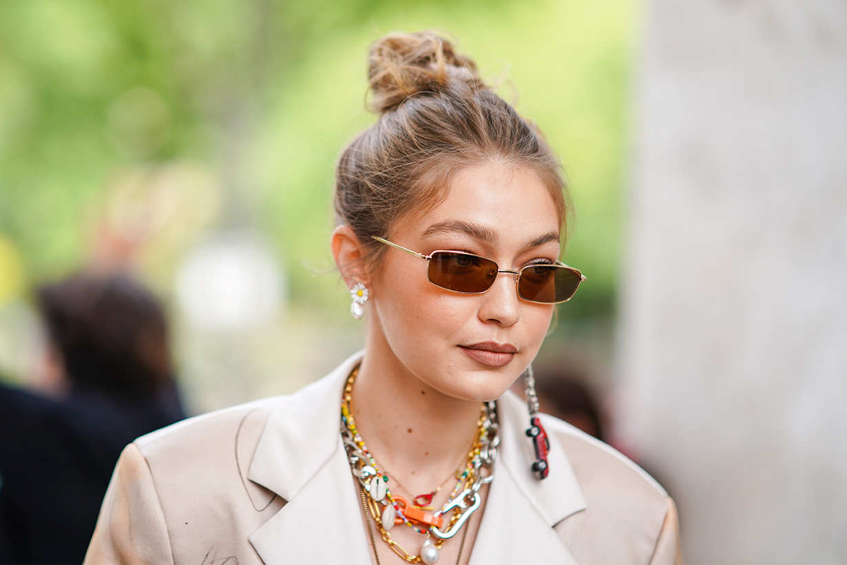 Gigi Hadid Twisted Top Knot celebrities hairstyles trend 2019 New York Fashion Week Spring Summer 2020 Alana Hadid La Detresse
