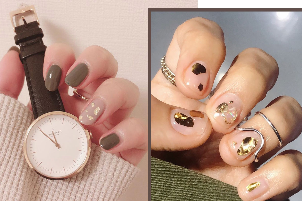 nails art ideas golden elements