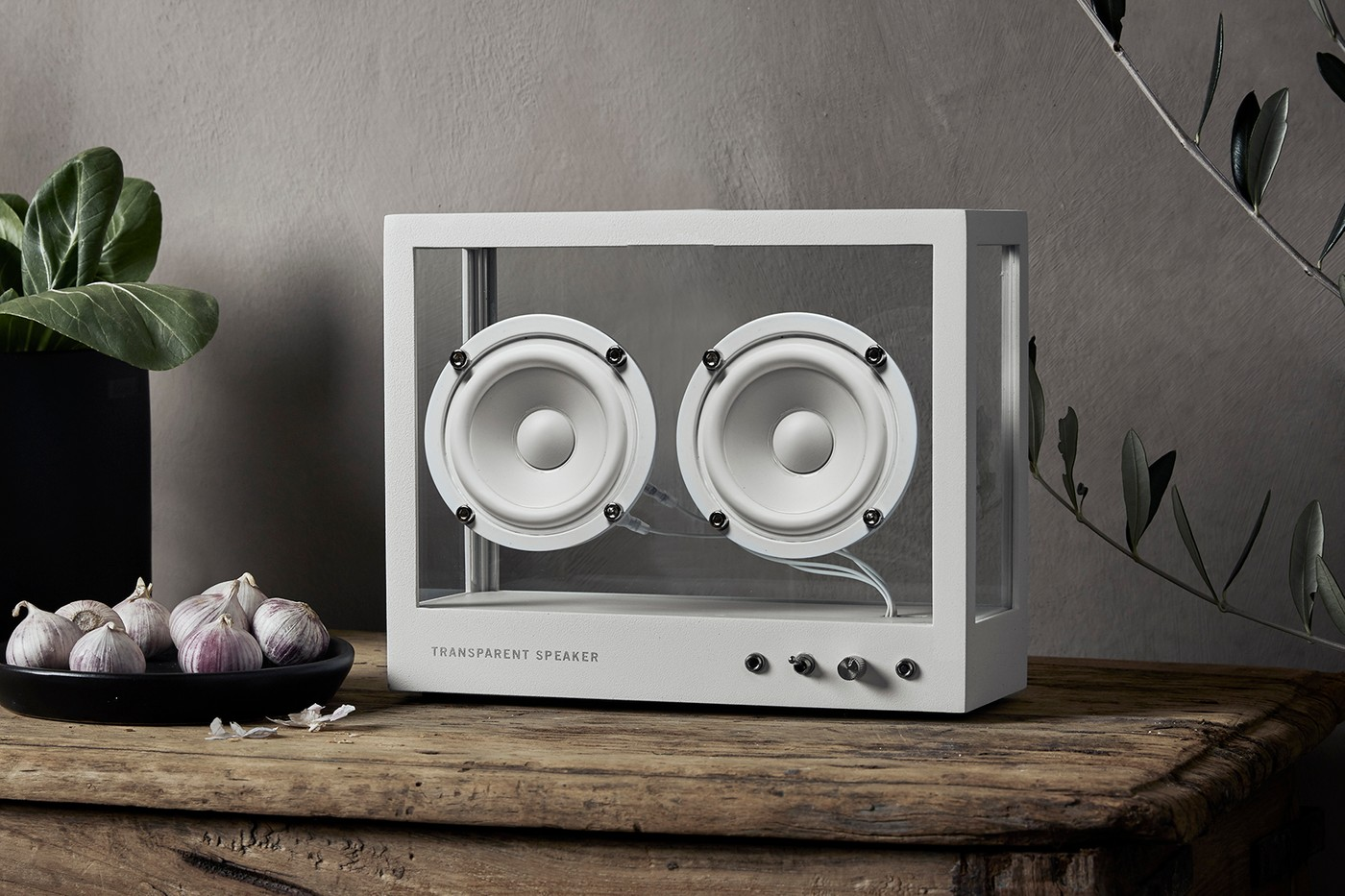 transparent sound speakers glass see through scandinavian interiors homeware tech audio