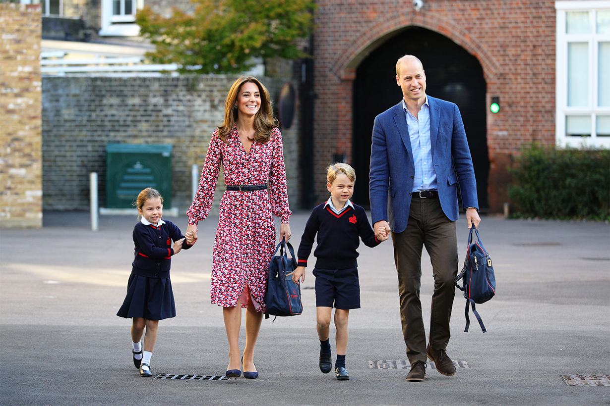 Kate Middleton Princess Charlotte Prince George Prince William go to school royal babies royal siblings British royal family