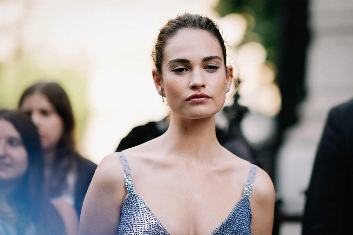 Lily James unveils a chic new brunette bob